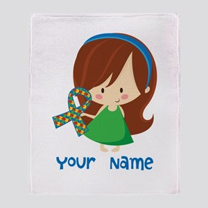 Personalized Autism Girl Throw Blanket
