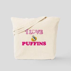 I Love Puffins Tote Bag