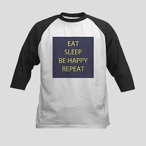 Life Motto Eat Sleep Be Happy Repeat Baseball Jers