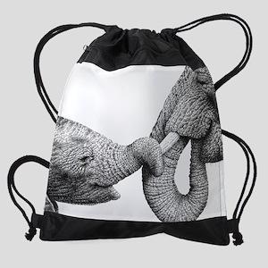 African Elephant & Calf Drawstring Bag