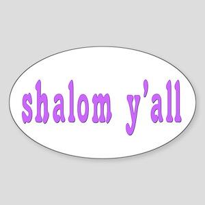 Shalom Y'all Greeting Oval Sticker