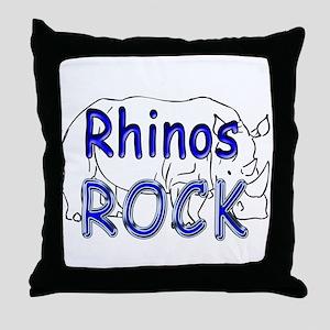 Rhinos Rock Throw Pillow