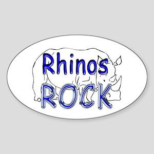 Rhinos Rock Oval Sticker