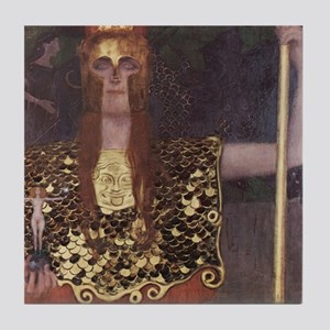 Gustav Klimt Art Deco Tile Coaster Pallas Athena
