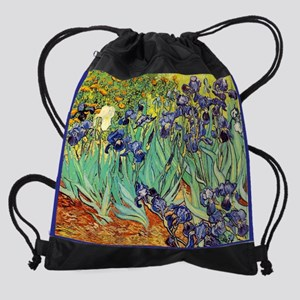 Van Gogh Irises purple floral Drawstring Bag