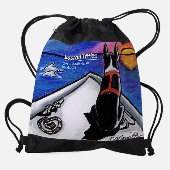 Boston Terriers Off-Leash Art™ Drawstring Bag