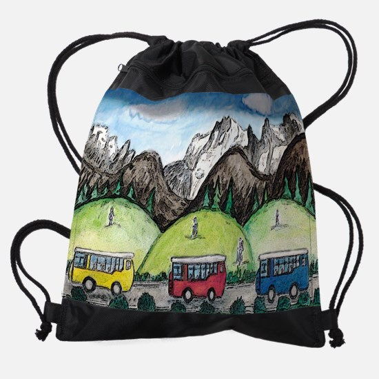 mountain travel small poster.jpg Drawstring Bag