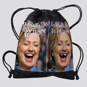 Hillary Teeth Poster Drawstring Bag