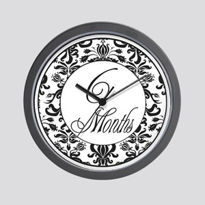 6 Months Black Damask Milestone Wall Clock
