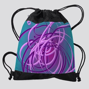 Tangled purple circles Drawstring Bag