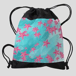 Pink starfish Drawstring Bag