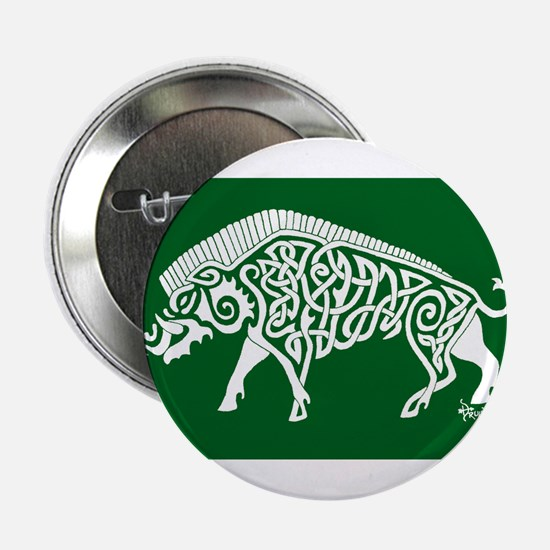 "Celtic Knotwork Boar, White on Green 2.25"" Button"