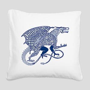 Celtic Knotwork Dragon, Blue Square Canvas Pillow