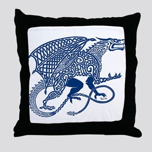 Celtic Knotwork Dragon, Blue Throw Pillow