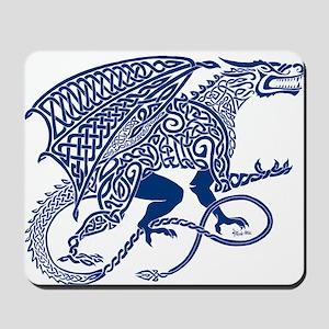 Celtic Knotwork Dragon, Blue Mousepad