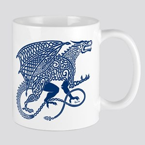 Celtic Knotwork Dragon, Blue Mug