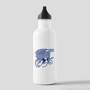 Celtic Knotwork Dragon, Blue Water Bottle
