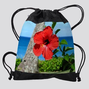 2-RedHibiscus_MP Drawstring Bag