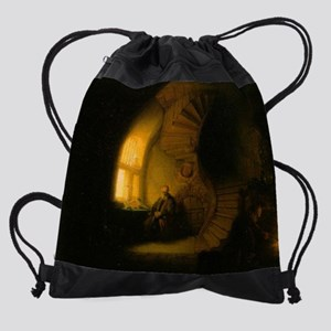 Philosopher in Meditation Drawstring Bag