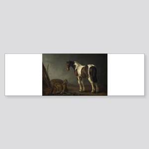 Antique Painting of Brown and White Horse Bumper S