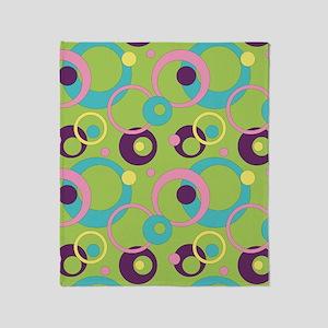 Funky Green Circles Throw Blanket