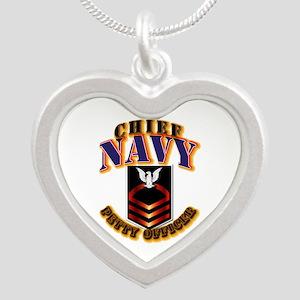 NAVY - CPO Silver Heart Necklace