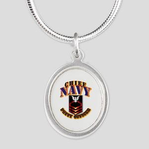 NAVY - CPO Silver Oval Necklace