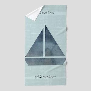 Add Text Cute Sailor Mint Green Boat Beach Towel