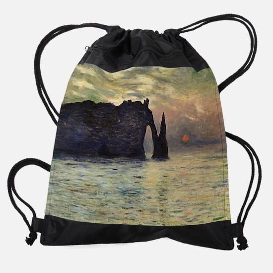 Claude Monet, Cliff Etretat Sunset Drawstring Bag