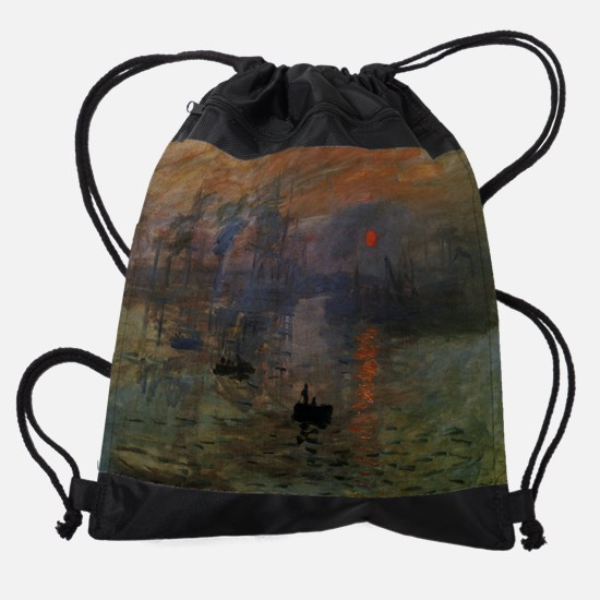 Impression, Sunrise by Claude Monet Drawstring Bag