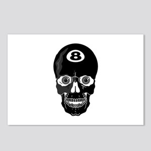 Eight Ball (8 Ball) Skull Postcards (Package of 8)