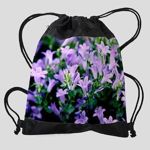 mouse pad purple flowers Drawstring Bag