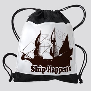 Ship Happens-Brown Drawstring Bag