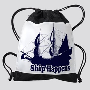 Ship Happens-navy Drawstring Bag