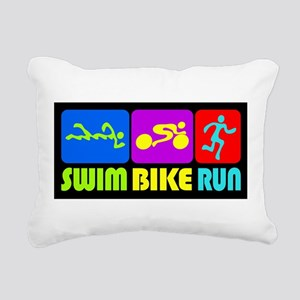 TRI Swim Bike Run Figures Rectangular Canvas Pillo
