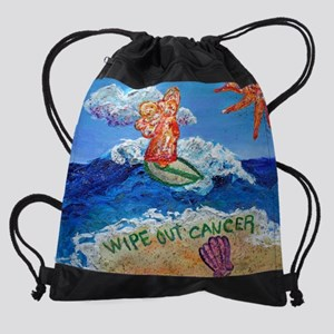 Wipe Out Cancer Angel Drawstring Bag