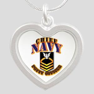 NAVY - CPO - Gold Silver Heart Necklace