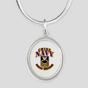NAVY - CPO - Gold Silver Oval Necklace