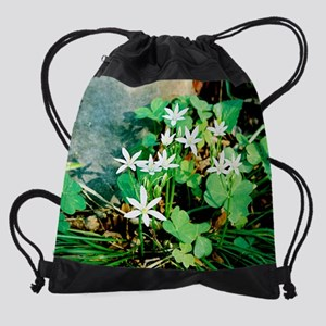 calendar wildflowers white Drawstring Bag