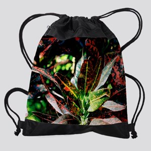 calendar red and green leaves Drawstring Bag