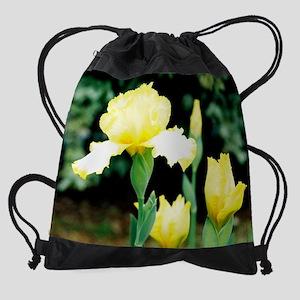 calendar yellow iris 9 Drawstring Bag