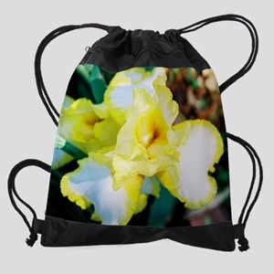 calendar yellow and white iris 1.pn Drawstring Bag