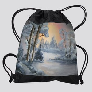 snow painting Drawstring Bag