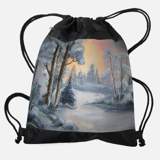 snow painting Drawstring Bag