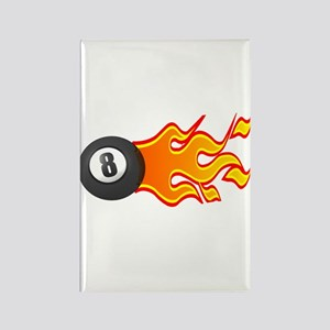 Eight Ball on Fire Rectangle Magnet