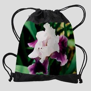 calendar purple and white iris Drawstring Bag