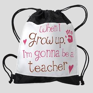 teacher grow up pink Drawstring Bag