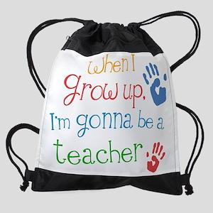teacher grow up multi Drawstring Bag
