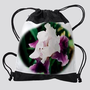 white and purple iris Drawstring Bag