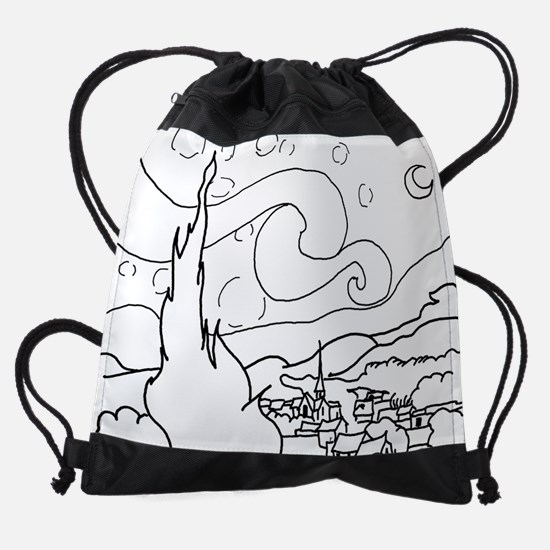 Starry Night Black.png Drawstring Bag